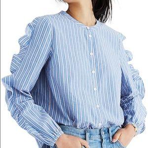 NWT Madewell Striped Frill Button Down Shirt